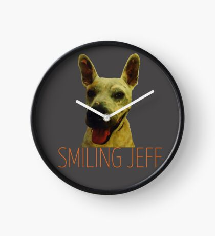 Smiling Jeff with Orange Text Clock