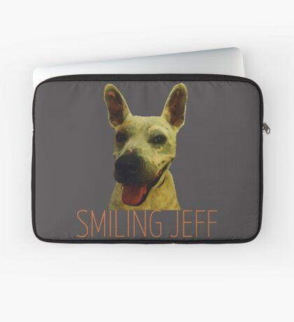 Smiling Jeff with Orange Text Laptop Sleeve