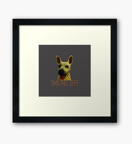 Smiling Jeff with Orange Text Framed Print