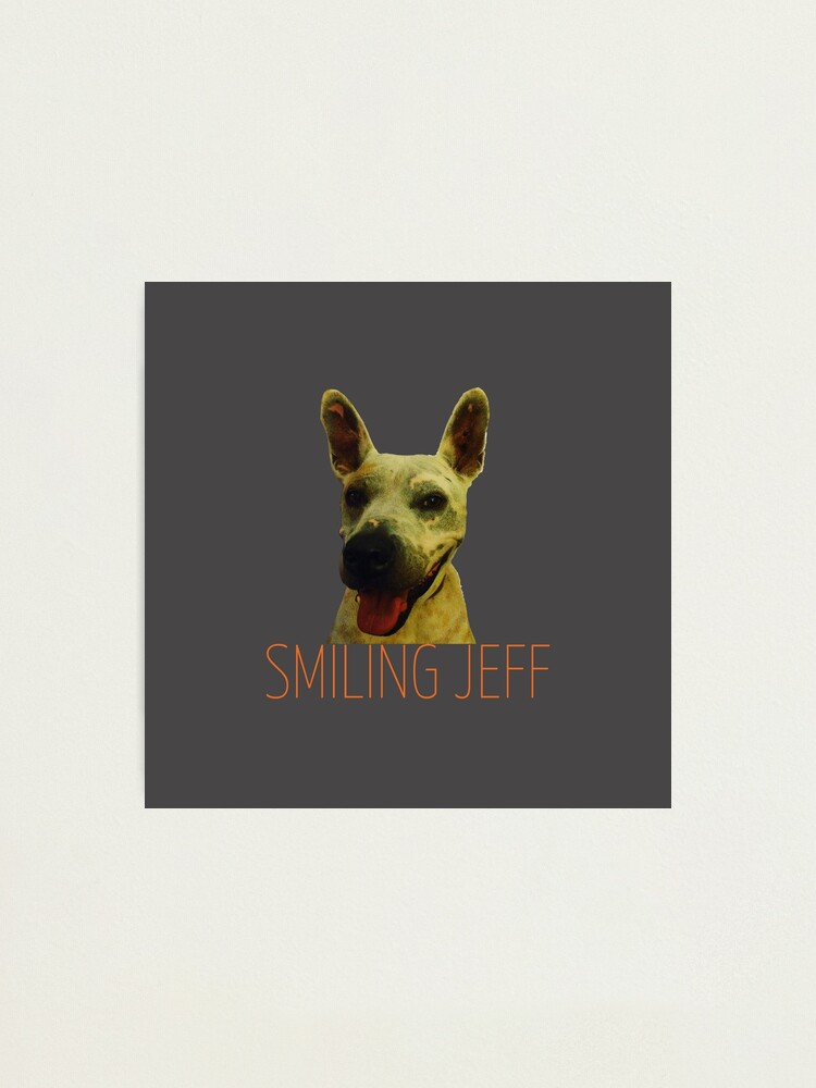 Alternate view of Smiling Jeff with Orange Text Photographic Print