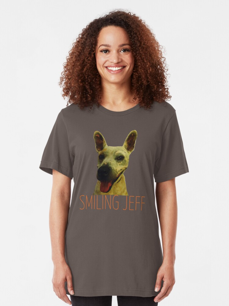 Alternate view of Smiling Jeff with Orange Text Slim Fit T-Shirt