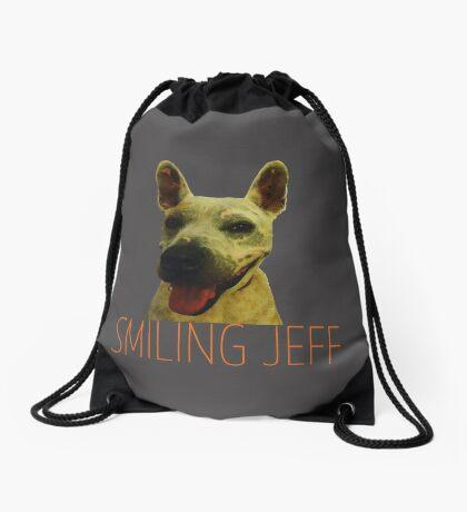 Smiling Jeff with Orange Text Drawstring Bag