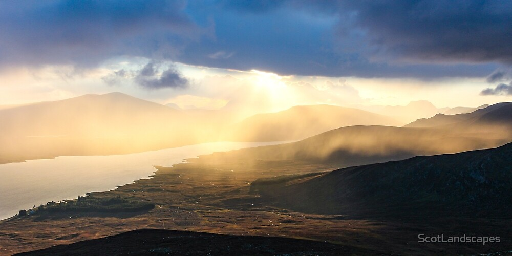 Evening shower over Loch Fannich by ScotLandscapes