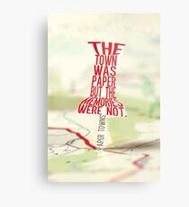 Town was paper Typography (Paper Towns 4 of 7) Metal Print