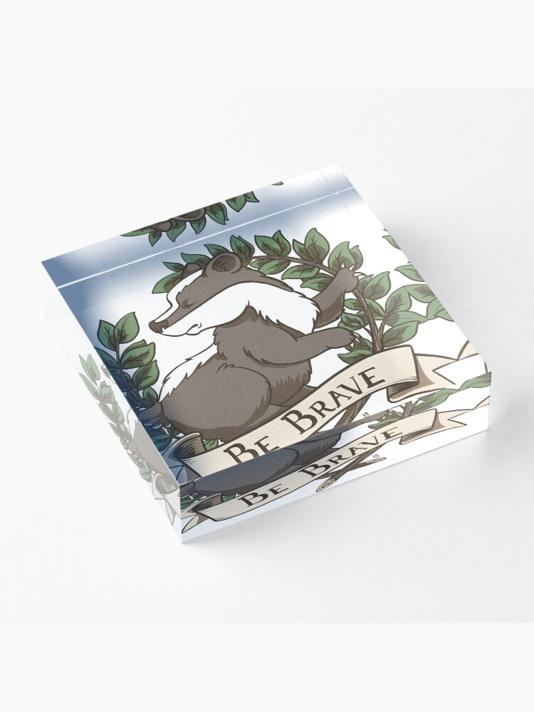 Alternate view of Be Brave Badger Crest Acrylic Block