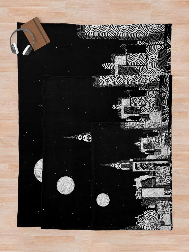 Alternate view of Manhattan Night New York Skyline Swings Throw Blanket