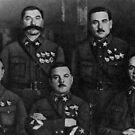 Маршалы Советского Союза (в нижнем ряду слева направо) Тухачевский (1893—1937), Ворошилов (1881—1969), Егоров (1883—1939), (в верхнем ряду слева направо) Буденный (1883—1973), Блюхер (1889—1938) by znamenski