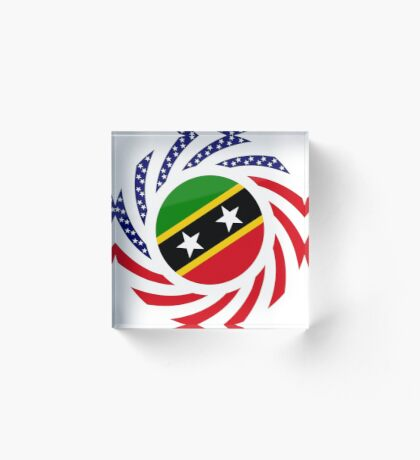 Kittian and Nevisian American Multinational Patriot Flag Series Acrylic Block