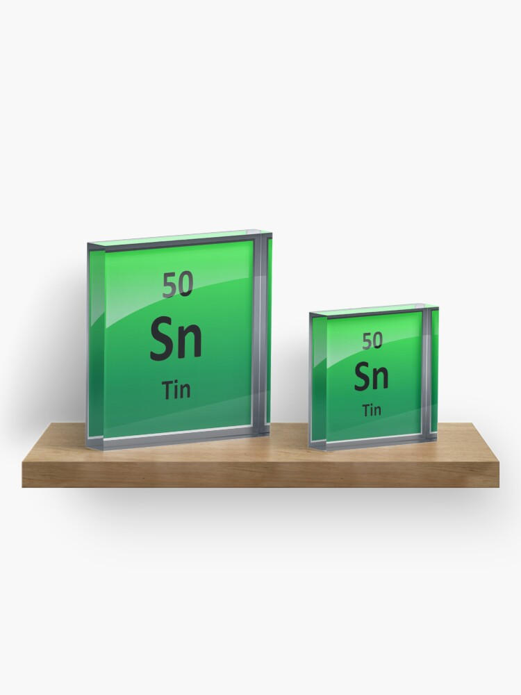 Alternate view of Tin Periodic Table Element Symbol Acrylic Block