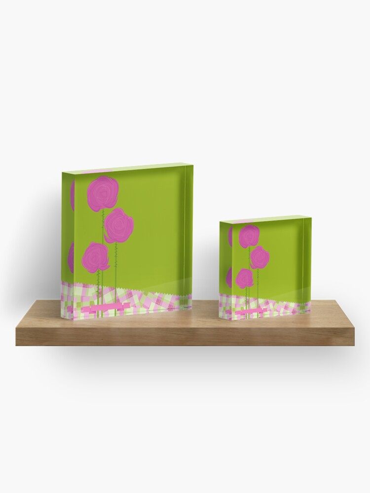 Alternate view of Pink Roses Acrylic Block