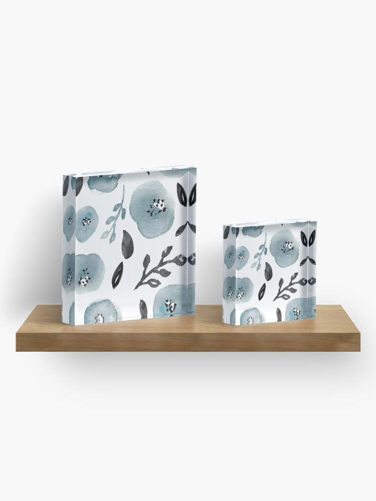 Vista alternativa de Bloque acrílico Grey Floral Pattern