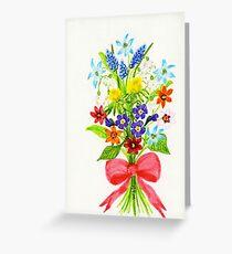 Floral Art GRAPE HYACINTHS Greeting Card
