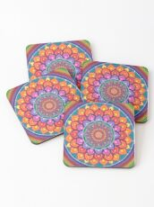 Lotus Rainbow Mandala Coasters