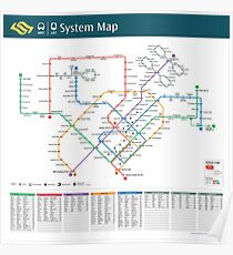 Singapore - MRT & LRT System Map (with walking time) - HD Poster