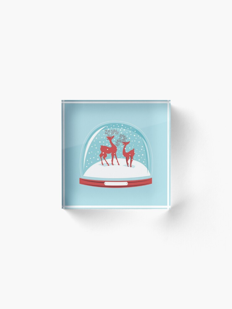 Alternate view of Snow-globe Couple Deer Acrylic Block