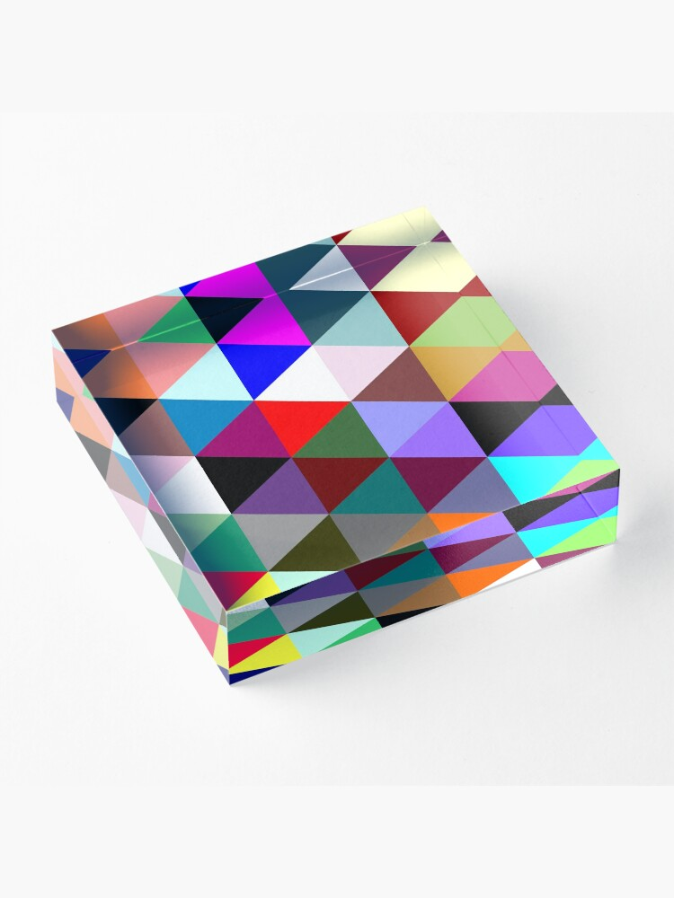 Alternate view of Colorful triangle pattern Acrylic Block