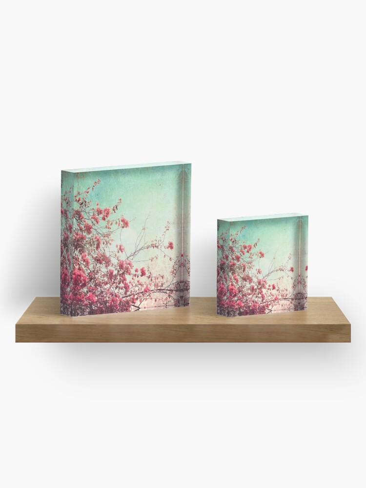 Alternate view of Pink Flowers on a Textured Blue Sky (Vintage Flower Photography) Acrylic Block