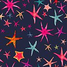 colorful watercolor starfish on navy ground by tatjanamaiwyss