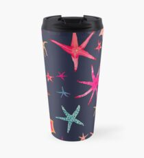 colorful watercolor starfish on navy ground Travel Mug