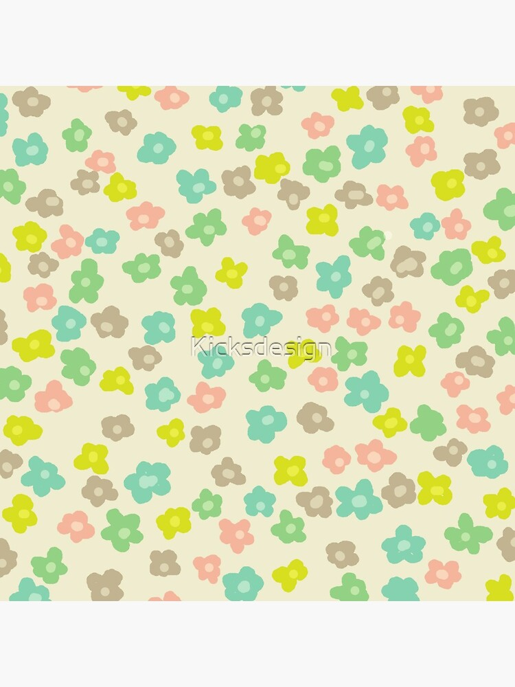 Vintage pink green abstract floral pattern de Kicksdesign