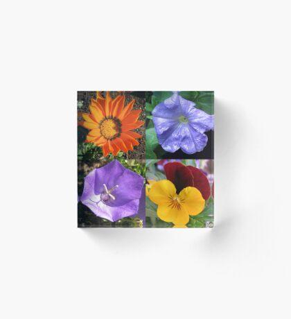 Quartett Sommer Blumen Collage Acrylblock