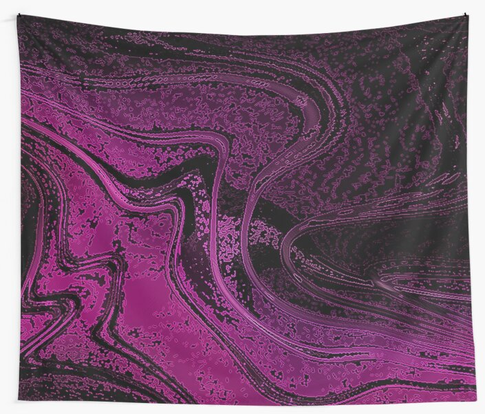 Dark Pink and Black Liquid Effect Print Wall Tapestry