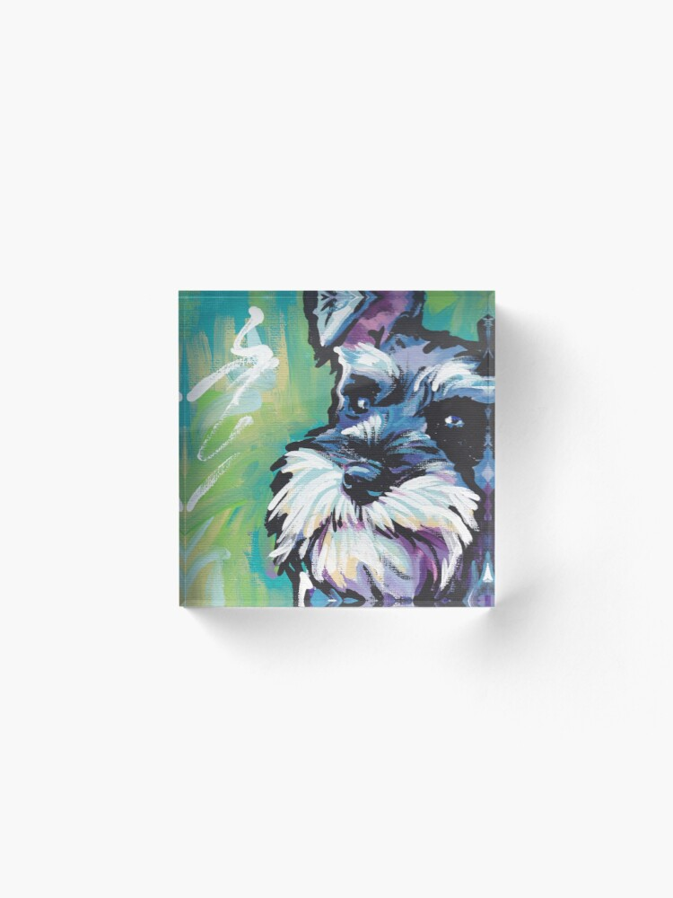 Alternate view of Schnauzer Bright colorful pop dog art Acrylic Block