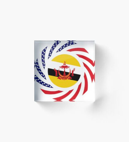 Bruneian American Multinational Patriot Flag Series Acrylic Block