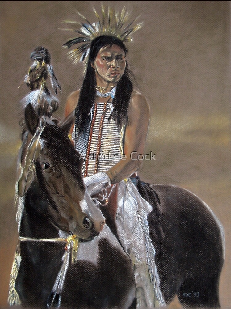 Shoshone warrior in traditional clothing by Astrid de Cock