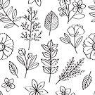 Flower Line Drawings Black On White by Zehda