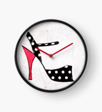 Strappy Polka Dot Tango Shoes with Red Heel Digital Painting Clock