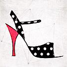 Strappy Polka Dot Tango Shoes with Red Heel Digital Painting by infinitetango