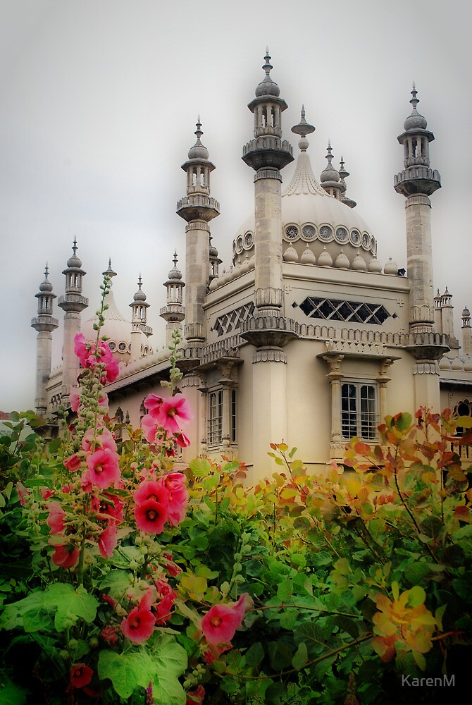 Brighton Royal Pavilion Behind Flowers by KarenM