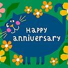 Happy Anniversary Cat Illustration by Adam Regester