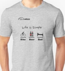 Cycling T Shirt - Life is Simple - Bike - Beer - Bed Unisex T-Shirt