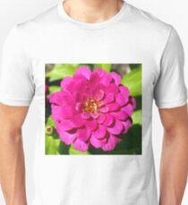 Macro Pink Fuschia Zinnia Flower in the Garden Unisex T-Shirt