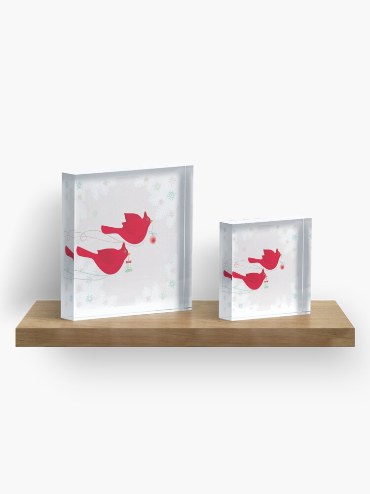 Alternate view of Two Cardinals Acrylic Block