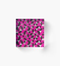 Bloque acrílico Girly Pink, Black, and Silver Geometric Triangles