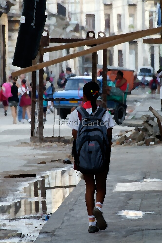 On the way to school, Havana, Cuba by David Carton