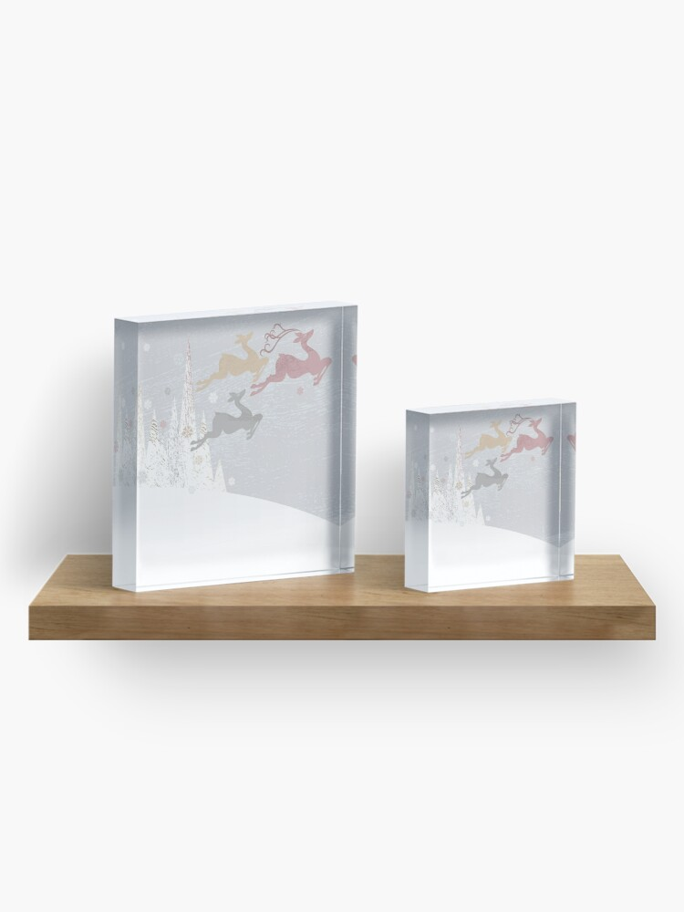 Alternate view of Flying Christmas Deer Acrylic Block
