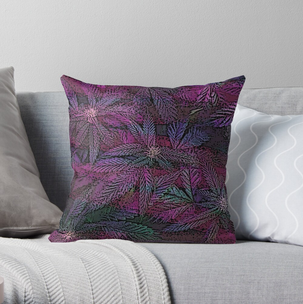 Teal Pink and Green Cannabis Weed Marijuana Print Throw Pillow