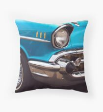 Chevrolet Bel Air Muscle Cart in Blue and Gold Throw Pillow