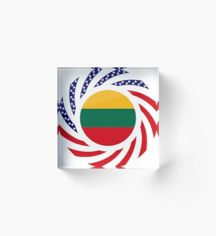 Lithuanian American Multinational Patriot Flag Series Acrylic Block