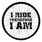 I Ride Therefore I Am Bicycle Wheel (dark design) by bauwau-design