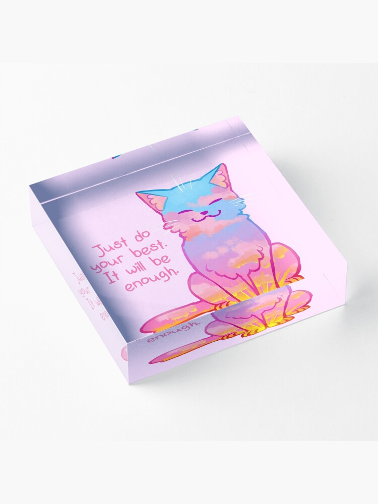 """Alternate view of """"Your Best Is Enough"""" Sunset Cat Acrylic Block"""