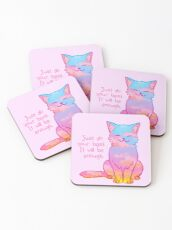 """""""Your Best Is Enough"""" Sunset Cat Coasters"""