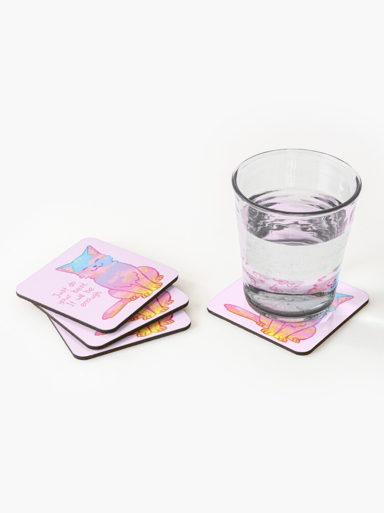 "Alternate view of ""Your Best Is Enough"" Sunset Cat Coasters (Set of 4)"