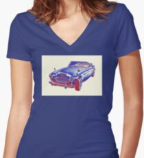 Austin Healey 300 Sports Car Pop Image Women's Fitted V-Neck T-Shirt