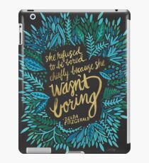 Zelda Fitzgerald – Blue & Gold on Charcoal iPad Case/Skin