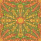 Sunshine, glowing sun, yellow orange green pattern by clipsocallipso